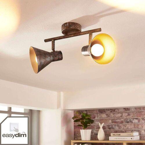 Lindby Schwarz-goldene LED-Deckenleuchte Zera, easydim