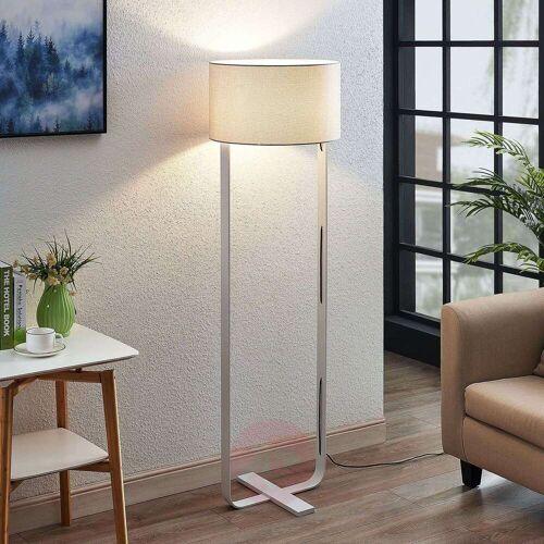 Lampenwelt.com Textil-Stehlampe Tarika in Weiß
