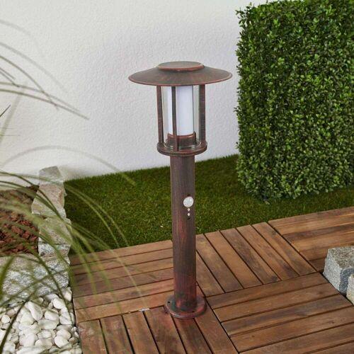 Lindby LED-Sockelleuchte Pavlos in Rost, Bewegungsmelder
