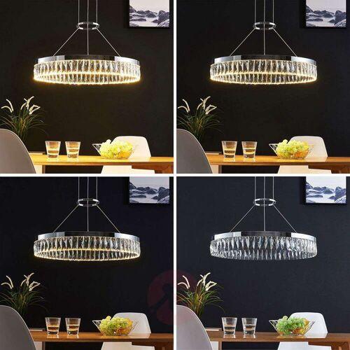 Lampenwelt.com LED-Pendellampe Carmi, Kristall, dimmbar