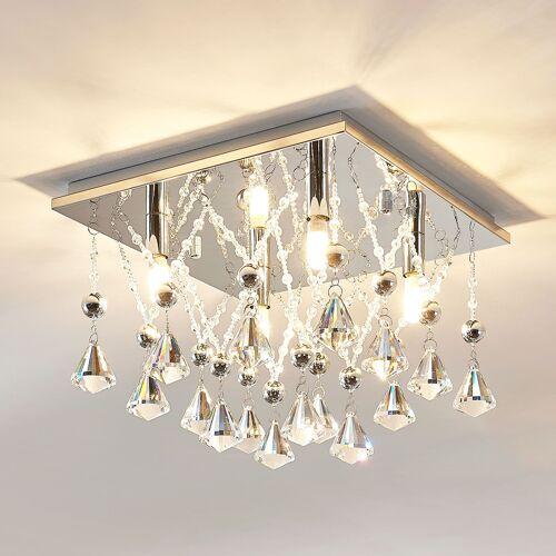 Lampenwelt.com Kristall-LED-Deckenlampe Saori, verchromt