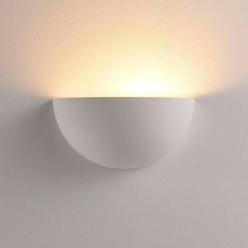Lindby Halbrunder LED-Wandfluter Narin aus Gips, weiß