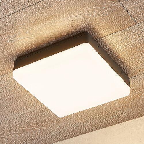 Lampenwelt.com LED-Deckenlampe Thilo, IP54, grau, 24 cm