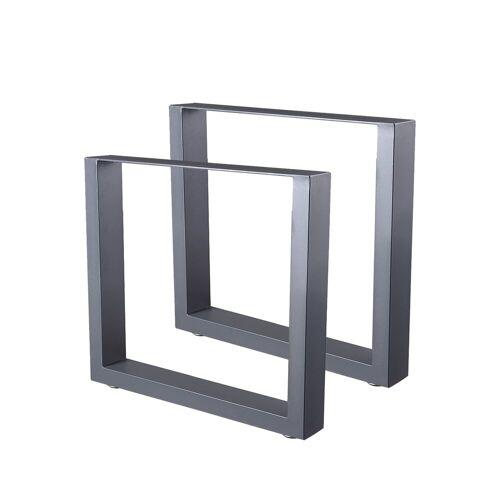 Zelsius Tischkufen 2er Set (B) 64 x (H) 40 cm, Metall Tischbeine, grau