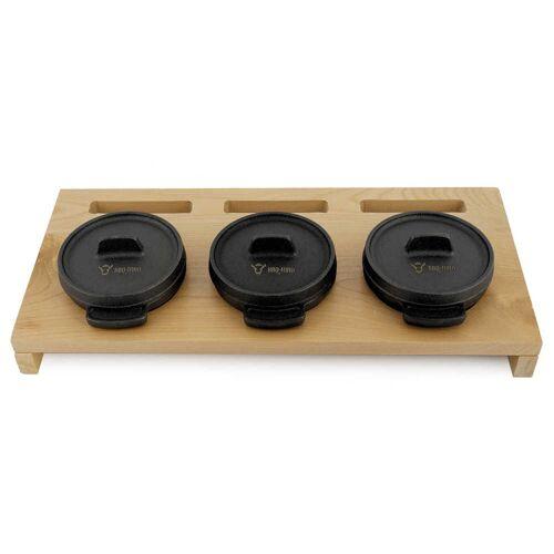 BBQ-Toro Mini Dutch Oven Set mit Holzunterlage  3 x Ø 11 cm  Gusseisen Töpfe