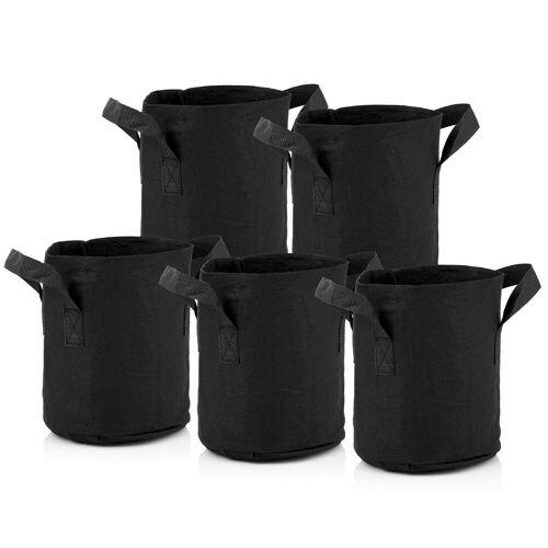 Zelsius Pflanzsack  4 Liter - schwarz  5 Stück  atmungsaktive Pflanztasche