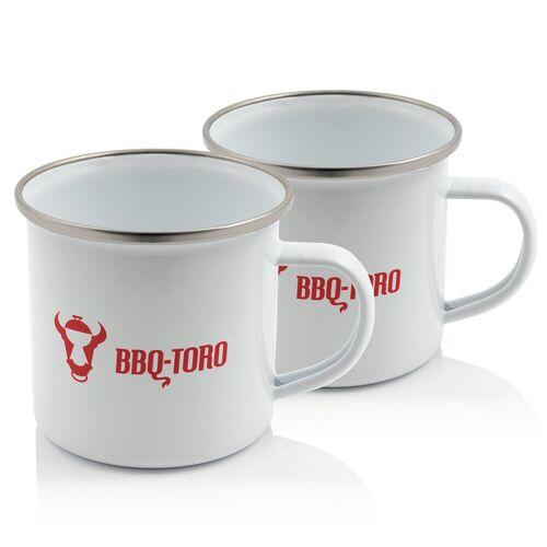 BBQ-Toro 2x Emaillierte Tasse, Emaille Becher, 350 ml, weiß