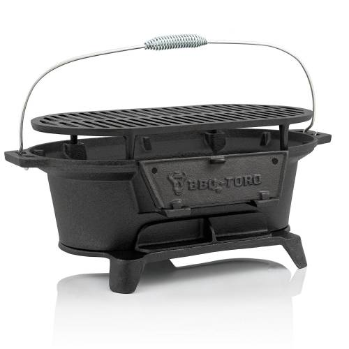 BBQ-Toro Gusseisen Holzkohle Grilltopf mit Grillrost, 50 x 25 x 23 cm