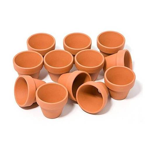 Tontöpfe aus Terrakotta, 3 cm hoch, 3,5 cm Ø, 12 Stück