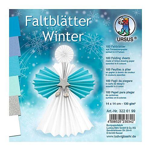 """Ursus Faltblätter """"Winter"""", 14 x 14 cm, 100 Blatt"""