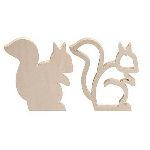 Eichhörnchen aus Holz, 18 cm, 2 Stück