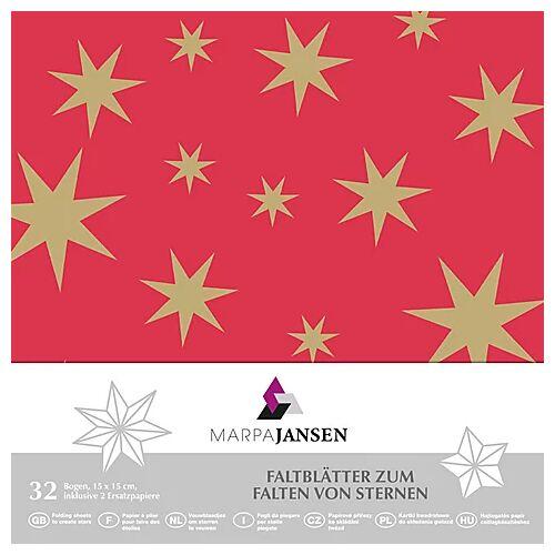 "Faltblätter ""Stern"", rot-gold, 15 x 15 cm, 32 Blatt"