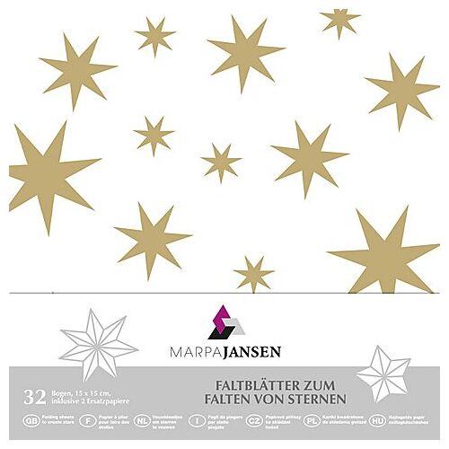 "Faltblätter ""Stern"", weiß-gold, 15 x 15 cm, 32 Blatt"