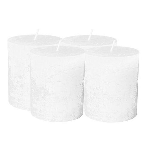 Rustikale Kerzen, weiß, 4 Stück