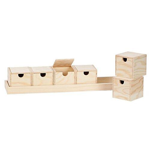 Sortierboxen mit Tablett aus Holz, 50,8 cm, 6 Boxen