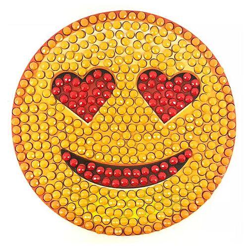 """Diamantenstickerei-Sticker """"Smiley"""", Ø 8 cm"""