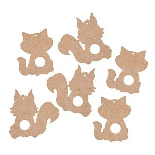 MDF-Füchse und Eichhörnchen, 6 Stück