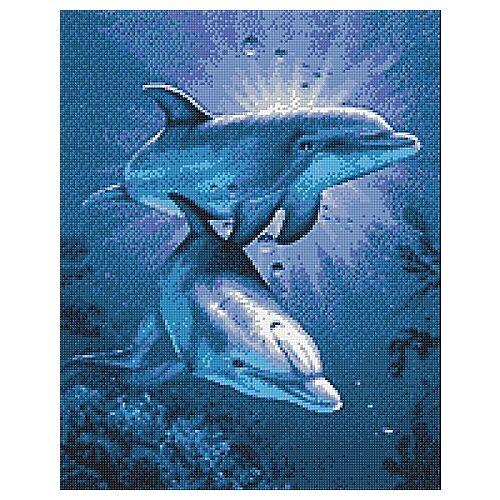 """Diamantenstickerei-Set """"Delfine"""", 38 x 48 cm"""