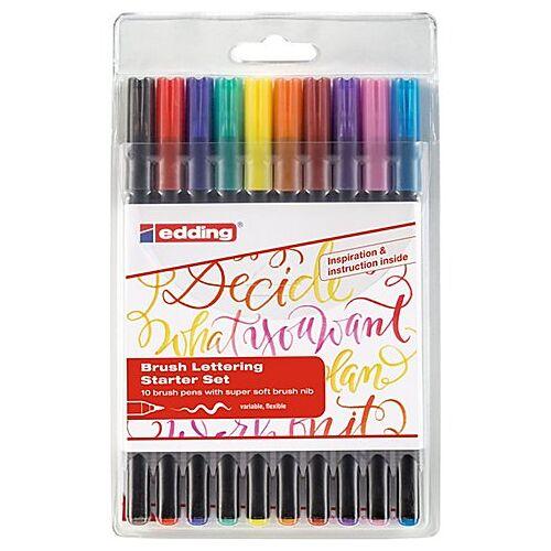 edding Brush Lettering Starter-Set, 10 Stifte