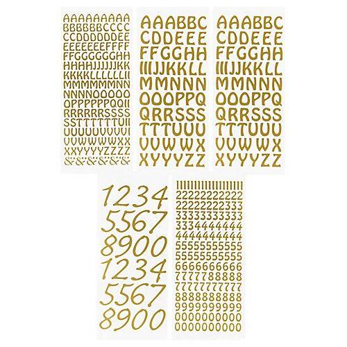 """Klebesticker """"Buchstaben & Zahlen"""", gold, 23 x 10 cm, 5 Bogen"""