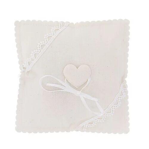 Ringkissen mit Herz, weiß, 14 x 14 cm