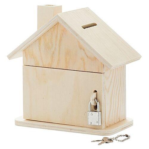 "Spardose ""Haus"" aus Holz, 15 x 8 x 14,5 cm"