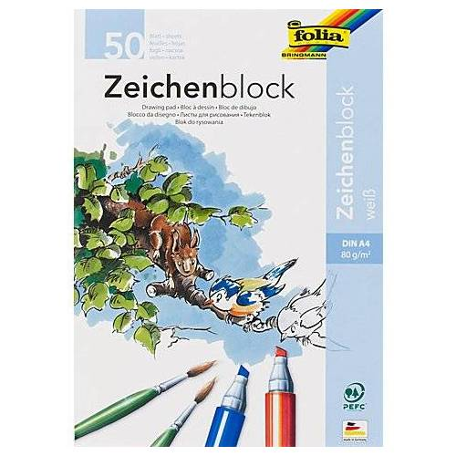 Folia Zeichenblock, weiß, A4, 50 Blatt