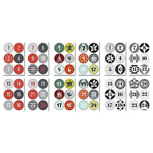 """Rund-Sticker-Set """"Adventskalender-Zahlen"""", 72 Stück"""