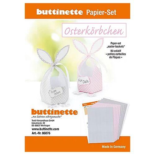 """Papier-Set """"Hasenkörbchen"""" grau & rosa, 4 Körbchen"""