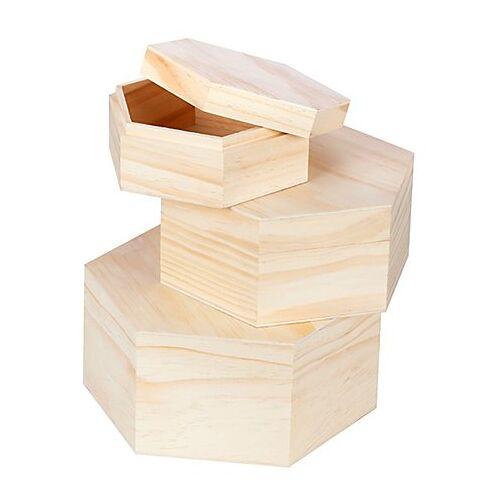 Boxen aus Holz, sechseckig, 3 Stück