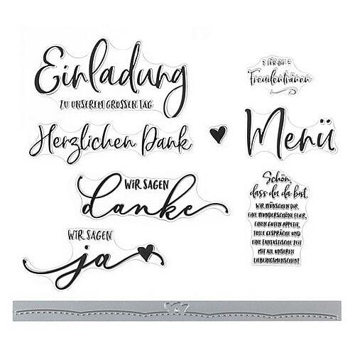 """Silikonstempel- & Stanzschablonen-Set """"Hochzeit"""""""
