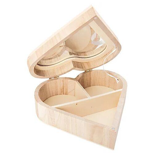 "Schmuckschatulle ""Herz"" aus Holz, 16 x 16 x 5,5 cm"