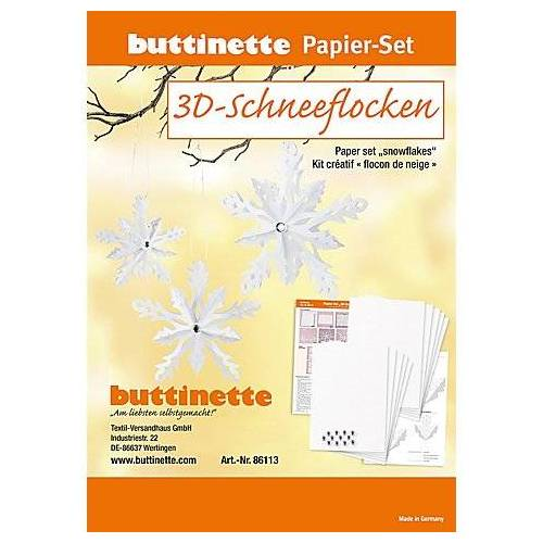 """Papier-Set """"3D-Schneeflocken"""", weiß, 6 Schneeflocken"""