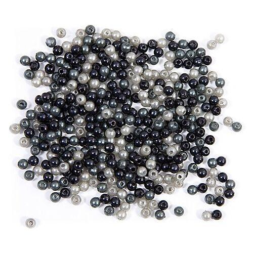 Acrylwachsperlen, grau-schwarz, 4 mm Ø, 25 g