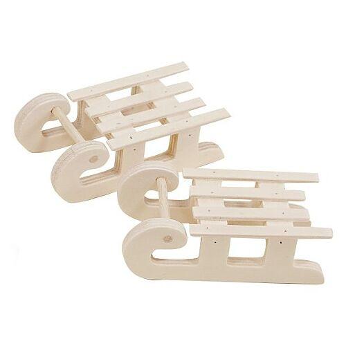 Mini-Schlitten aus Holz, 8,5 x 4 x 3 cm, 2 Stück