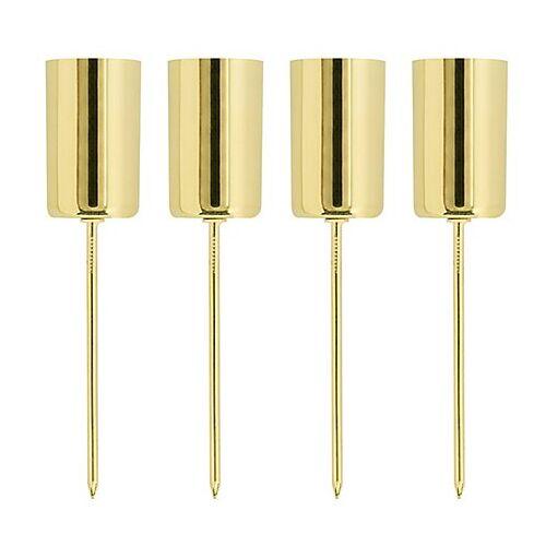 Stabkerzenhalter, gold, 2,3 cm Ø, 4 Stück