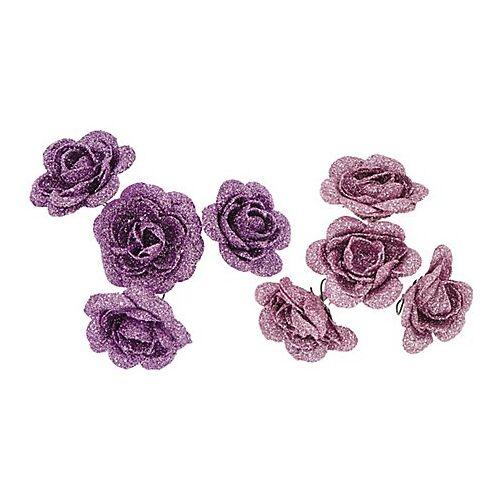 Rosenköpfe, lila-rosa, 5 cm Ø, 8 Stück