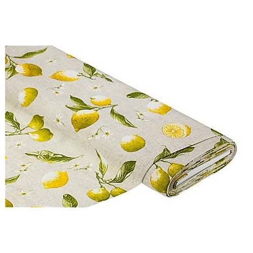 "Dekostoff Zitronen ""Lorena"", natur/gelb"