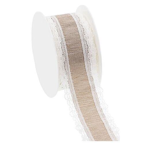 Dekoband mit Spitze, hellbraun-weiß, 36 mm, 2,5 m