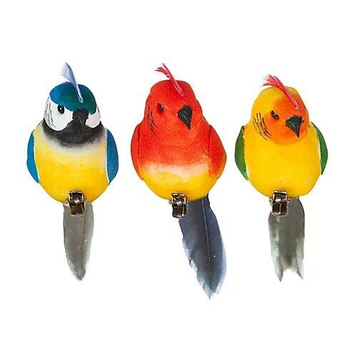 Papageien mit Federn, 12 x 3 cm, 3 Stück
