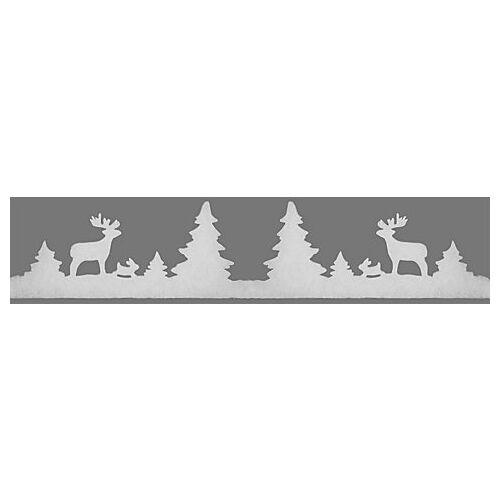 """Weihnachtliche Fensterdeko """"Winterwald"""", 7,5 - 20 cm hoch, 1,8 m lang"""