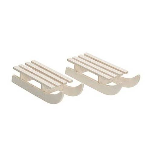 Schlitten aus Holz, 11 x 5,5 x 3,5 cm, 2 Stück