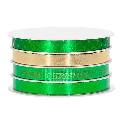"""Geschenkbänder-Paket """"Weihnachten"""", grün/gold, 10 mm, 24 m"""