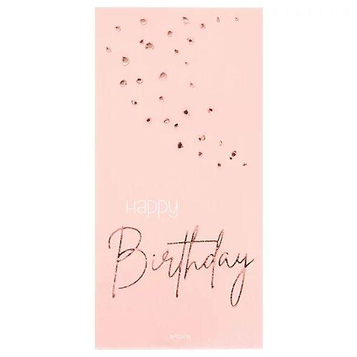 """Servietten """"Happy Birthday"""", 8,5 x 16 cm, rosé"""