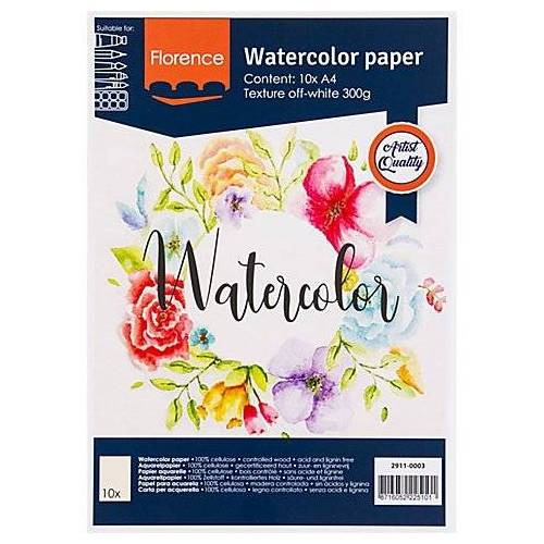 "Aquarellpapier-Block ""Florence"", DIN A4, 300 g/m²"