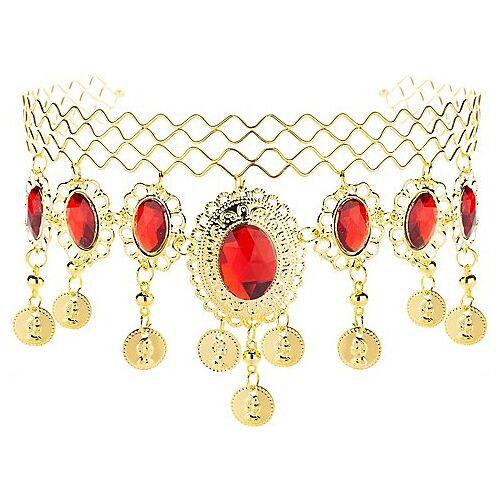 Indischer Kopfschmuck, gold/rot