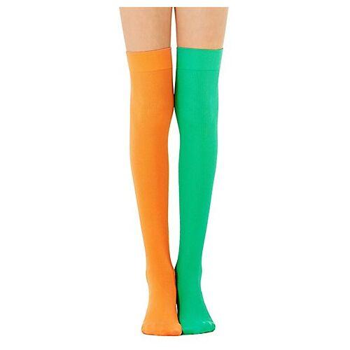 Overknee-Strümpfe, grün/orange