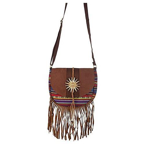 Braun Hippie-Tasche, braun/bunt
