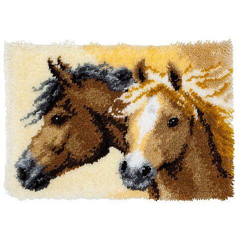 """Knüpfteppich """"Pferde"""" 50 x 40 cm"""
