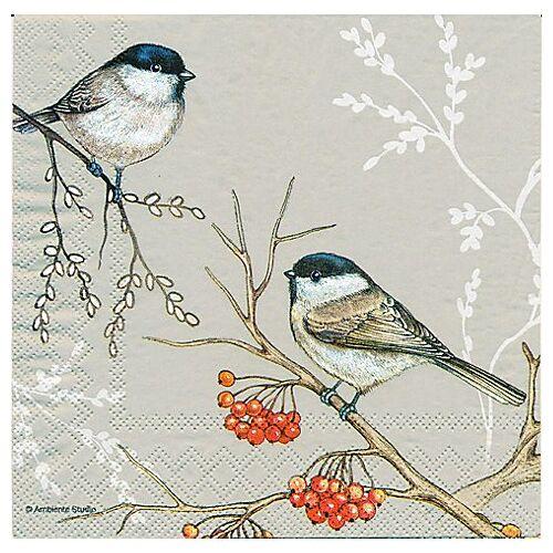 """Papierservietten """"Vogel auf Beerenzweig"""", 33 x 33 cm, 20 Stück"""